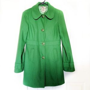 Anthropologie Tulle Green Pea Coat Women's Small